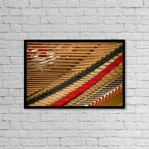 "Printscapes Wall Art: 18"" x 12"" Canvas Print With Black Frame - Close Up Of Piano Strings by David Chapman"