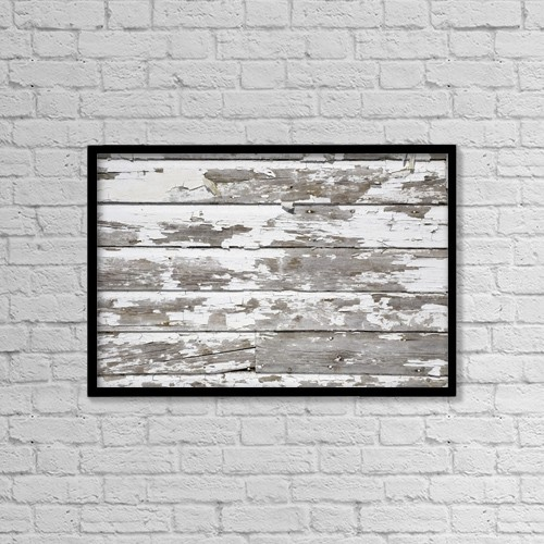 "Printscapes Wall Art: 18"" x 12"" Canvas Print With Black Frame - Paint Peeling Off Wood by David Chapman"