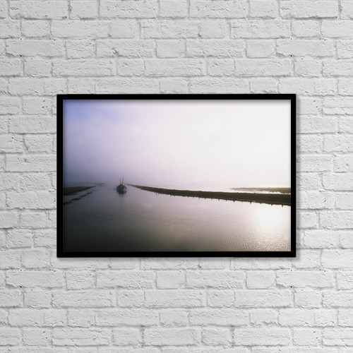 """Printscapes Wall Art: 18"""" x 12"""" Canvas Print With Black Frame - Sailboat On A Misty Morning by The Irish Image Collection"""