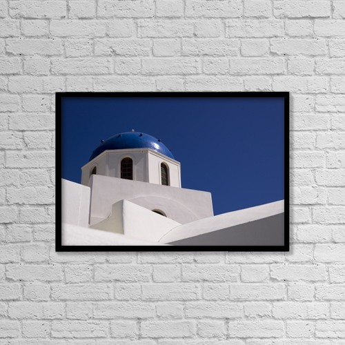 "Printscapes Wall Art: 18"" x 12"" Canvas Print With Black Frame - Greek Architecture, Santorini, Greece by Keith Levit"