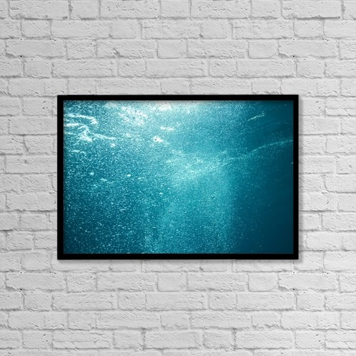 "Printscapes Wall Art: 18"" x 12"" Canvas Print With Black Frame - Bubbles Underwater by Stuart Westmorland"