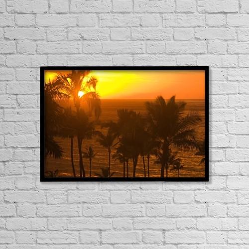 "Printscapes Wall Art: 18"" x 12"" Canvas Print With Black Frame - Sunset On Beach, Wailea, Hawaii by Stuart Westmorland"