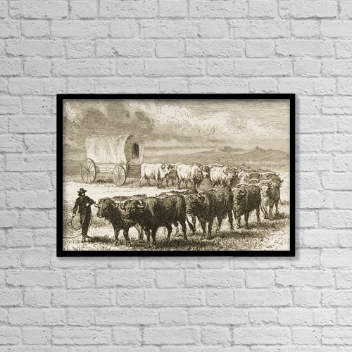 "Printscapes Wall Art: 18"" x 12"" Canvas Print With Black Frame - Bullock Wagon Crossing The Great Plains by Ken Welsh"