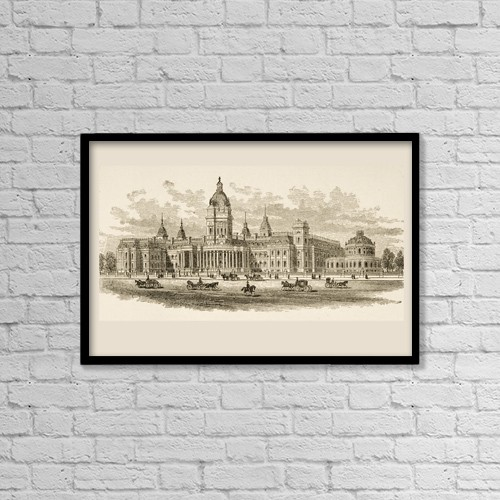 """Printscapes Wall Art: 18"""" x 12"""" Canvas Print With Black Frame - City Hall In San Francisco, California In 1870S by Ken Welsh"""