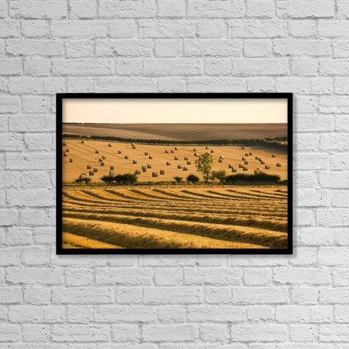 """Printscapes Wall Art: 18"""" x 12"""" Canvas Print With Black Frame - Farmer's Field, North Yorkshire, England by John Short"""
