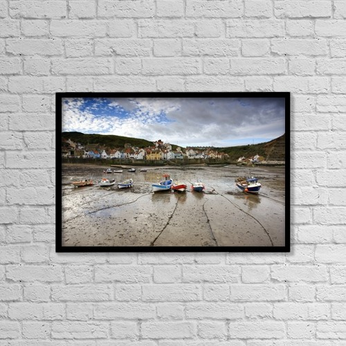 "Printscapes Wall Art: 18"" x 12"" Canvas Print With Black Frame - Staithes, North Yorkshire, England by John Short"