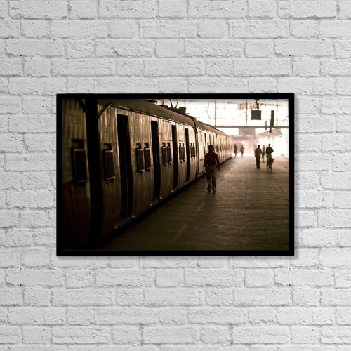 "Printscapes Wall Art: 18"" x 12"" Canvas Print With Black Frame - Passengers And Trains In A Train Station by Keith Levit"