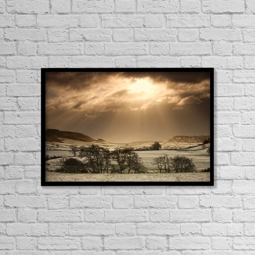 """Printscapes Wall Art: 18"""" x 12"""" Canvas Print With Black Frame - North Yorkshire, England by John Short"""
