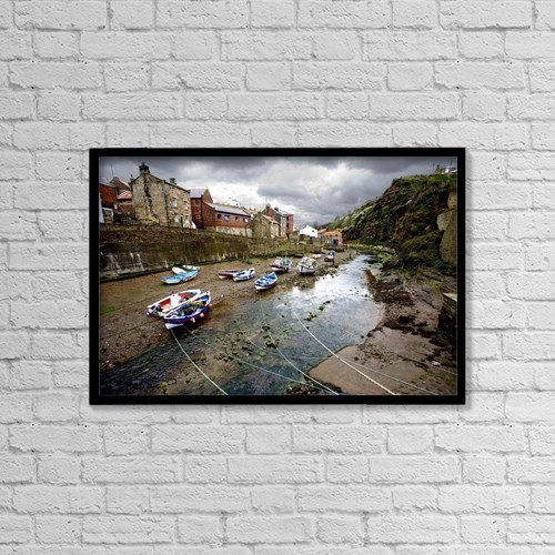 "Printscapes Wall Art: 18"" x 12"" Canvas Print With Black Frame - Moored Boats In Staithes by John Short"
