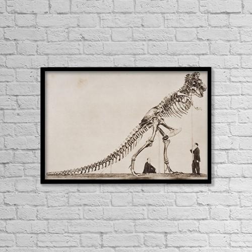 "Printscapes Wall Art: 18"" x 12"" Canvas Print With Black Frame - Historical Illustration Of Dinosaur Skeleton by Ken Welsh"