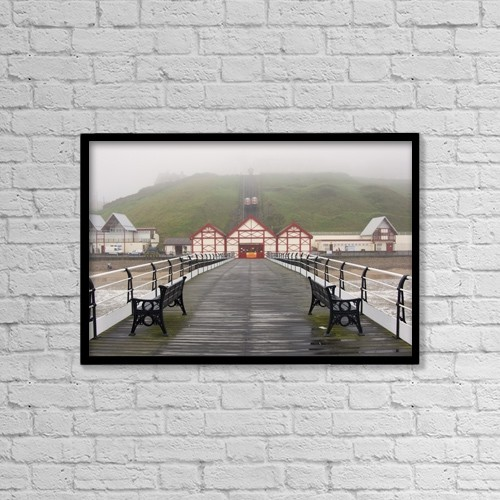 "Printscapes Wall Art: 18"" x 12"" Canvas Print With Black Frame - Misty View Of Victorian Pier by John Short"