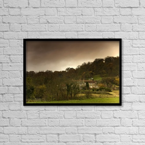 """Printscapes Wall Art: 18"""" x 12"""" Canvas Print With Black Frame - Country Houses, Dramatic Sky In Background by John Short"""