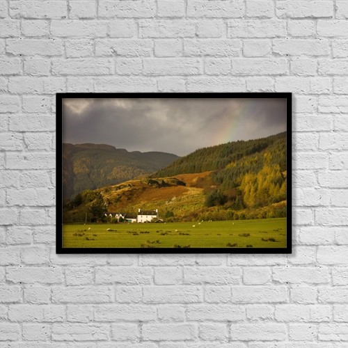 "Printscapes Wall Art: 18"" x 12"" Canvas Print With Black Frame - Argyl And Bute; Scotland, Uk by John Short"