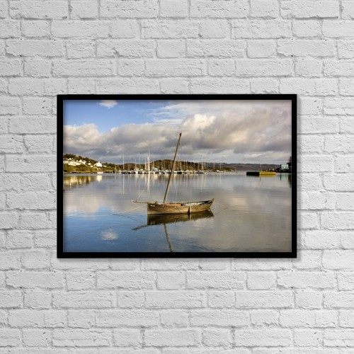 "Printscapes Wall Art: 18"" x 12"" Canvas Print With Black Frame - Harbour In Tarbert; Scotland, Uk by John Short"
