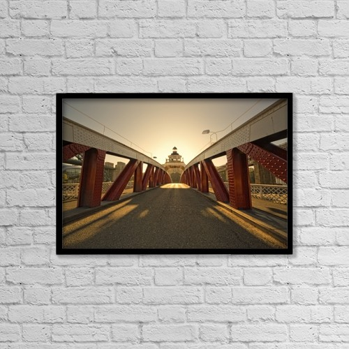 "Printscapes Wall Art: 18"" x 12"" Canvas Print With Black Frame - Bridge by John Short"