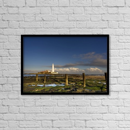 """Printscapes Wall Art: 18"""" x 12"""" Canvas Print With Black Frame - Shore And Lighthouse In Distance by John Short"""