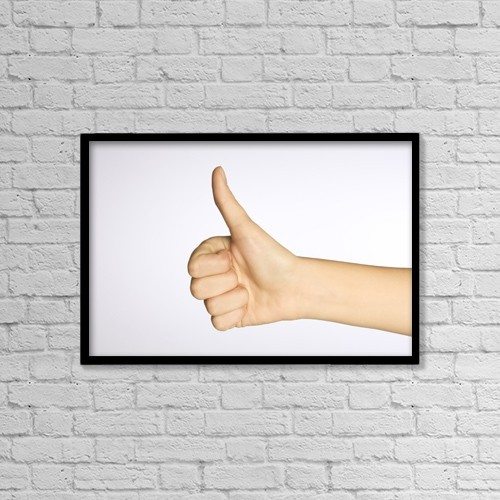 "Printscapes Wall Art: 18"" x 12"" Canvas Print With Black Frame - Thumbs Up by Alan Marsh"