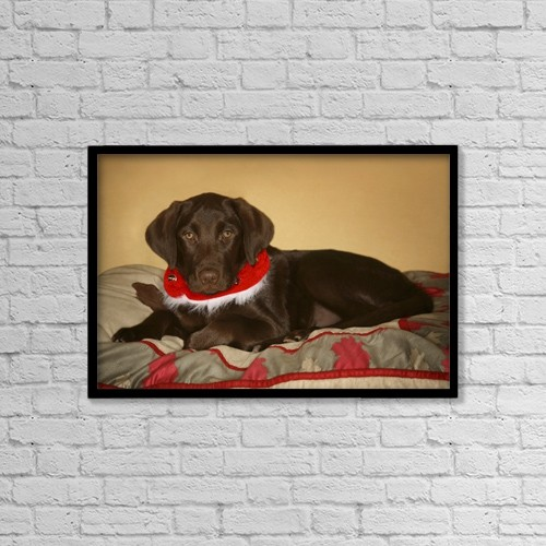 """Printscapes Wall Art: 18"""" x 12"""" Canvas Print With Black Frame - Dog With Christmas Collar by Leah Hammond"""