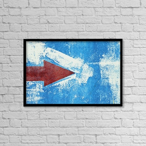 """Printscapes Wall Art: 18"""" x 12"""" Canvas Print With Black Frame - Red Arrow Painted On Blue Wall by Ken Welsh"""