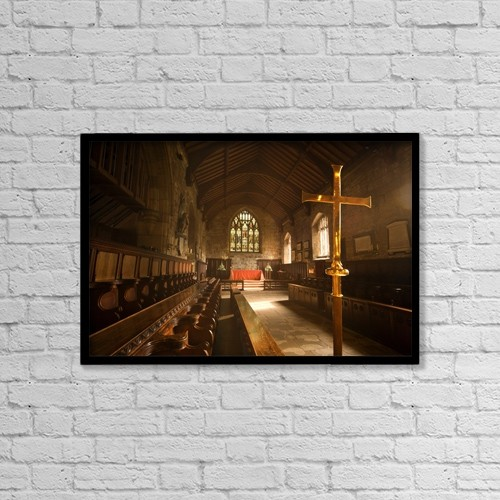 "Printscapes Wall Art: 18"" x 12"" Canvas Print With Black Frame - Guisborough, England; Interior Of Chapel by John Short"