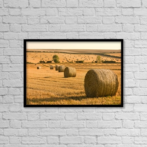 """Printscapes Wall Art: 18"""" x 12"""" Canvas Print With Black Frame - Hay Bales, North Yorkshire, England by John Short"""