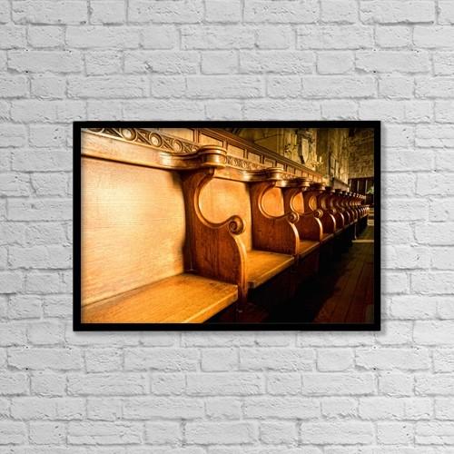 "Printscapes Wall Art: 18"" x 12"" Canvas Print With Black Frame - Choir Stalls by John Short"