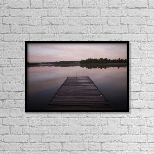 "Printscapes Wall Art: 18"" x 12"" Canvas Print With Black Frame - Pier, Lake Of The Woods, Ontario, Canada by Keith Levit"