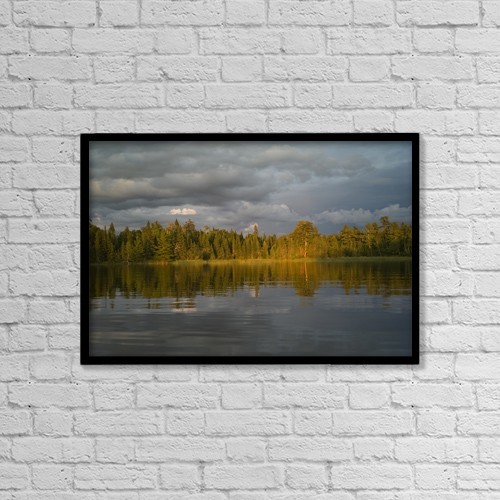 "Printscapes Wall Art: 18"" x 12"" Canvas Print With Black Frame - Lake Of The Woods, Ontario, Canada by Keith Levit"