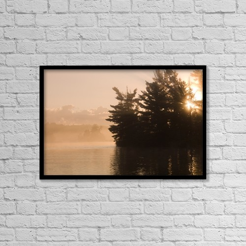 """Printscapes Wall Art: 18"""" x 12"""" Canvas Print With Black Frame - Lake Of The Woods, Ontario, Canada by Keith Levit"""