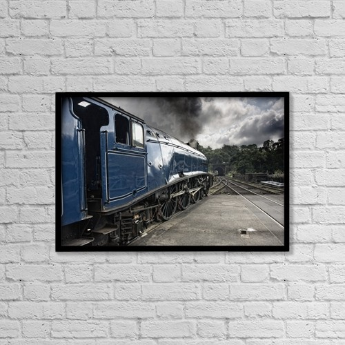 "Printscapes Wall Art: 18"" x 12"" Canvas Print With Black Frame - Sir Nigel Gresley Train At Grosmont by John Short"