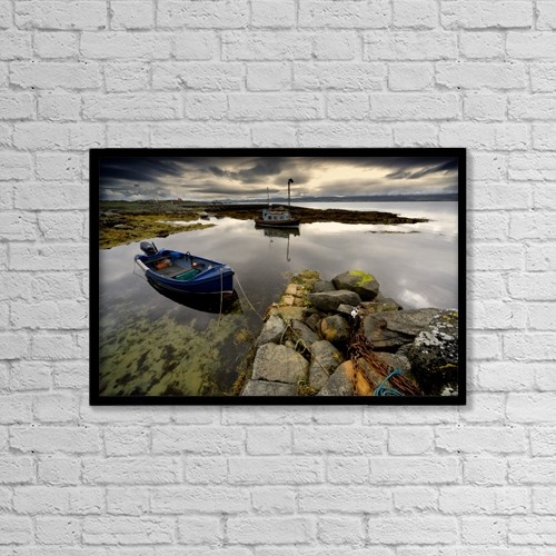 "Printscapes Wall Art: 18"" x 12"" Canvas Print With Black Frame - Islay, Scotland; Two Boats Anchored By A Beach by John Short"