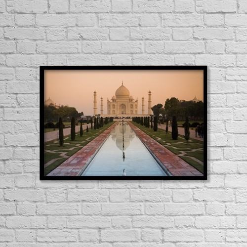 "Printscapes Wall Art: 18"" x 12"" Canvas Print With Black Frame - View Of Taj Mahal Reflecting In Pond by David DuChemin"