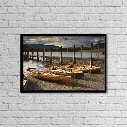 "Printscapes Wall Art: 18"" x 12"" Canvas Print With Black Frame - Lake District, Cumbria, England by John Short"