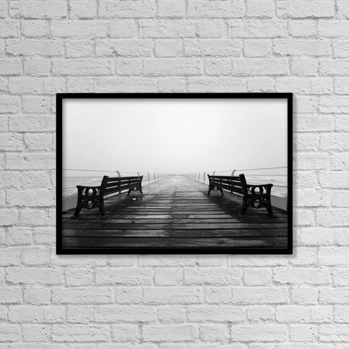 "Printscapes Wall Art: 18"" x 12"" Canvas Print With Black Frame - Dock, Saltburn, North Yorkshire, England by John Short"