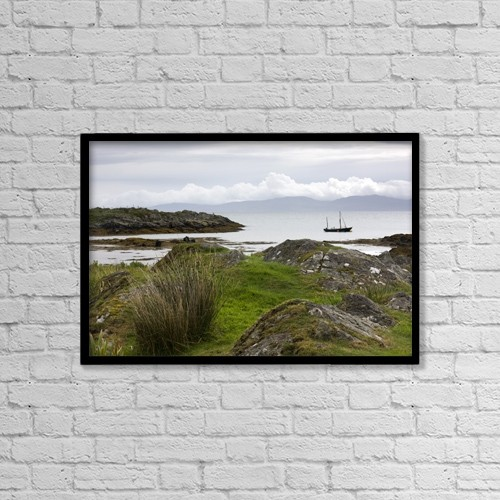 "Printscapes Wall Art: 18"" x 12"" Canvas Print With Black Frame - Boat, Scotland by John Short"
