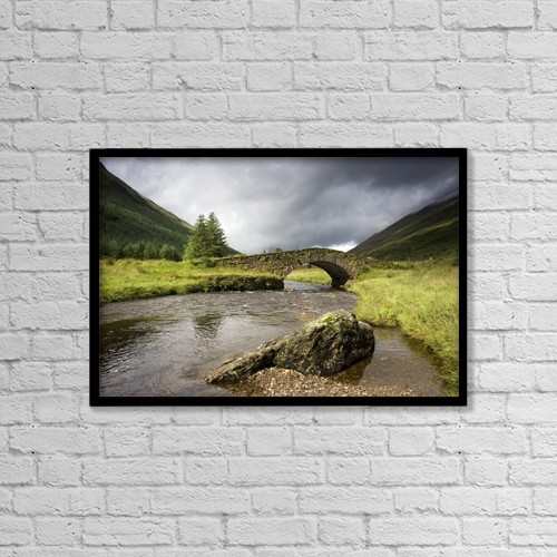 "Printscapes Wall Art: 18"" x 12"" Canvas Print With Black Frame - Bridge Over River, Scotland by John Short"