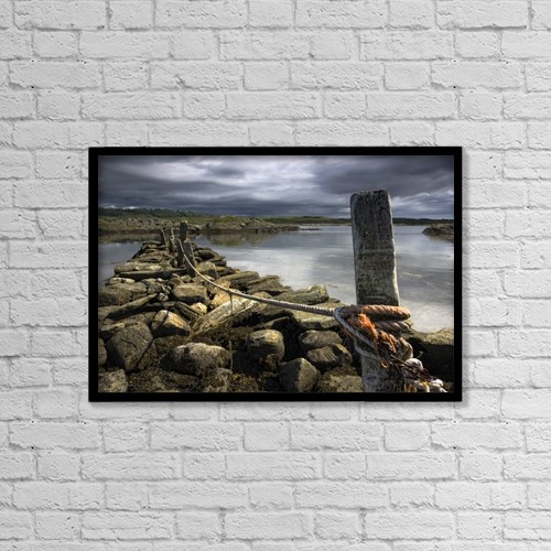 "Printscapes Wall Art: 18"" x 12"" Canvas Print With Black Frame - Tidal Estuary, Scotland by John Short"