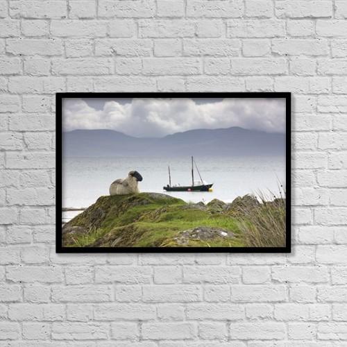 "Printscapes Wall Art: 18"" x 12"" Canvas Print With Black Frame - Sheep Enjoying The View, Scotland by John Short"