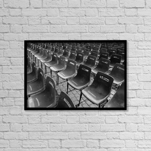 """Printscapes Wall Art: 18"""" x 12"""" Canvas Print With Black Frame - Chairs by Keith Levit"""