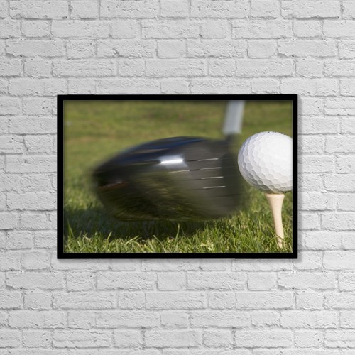 """Printscapes Wall Art: 18"""" x 12"""" Canvas Print With Black Frame - Golf Ball On Tee Hit By Driver by Ken Welsh"""