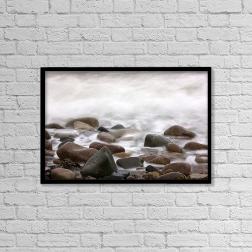"""Printscapes Wall Art: 18"""" x 12"""" Canvas Print With Black Frame - Water Washing Over Rocks by John Short"""