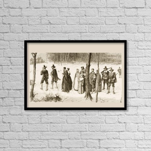 "Printscapes Wall Art: 18"" x 12"" Canvas Print With Black Frame - Pilgrim Fathers Going To Church by Ken Welsh"