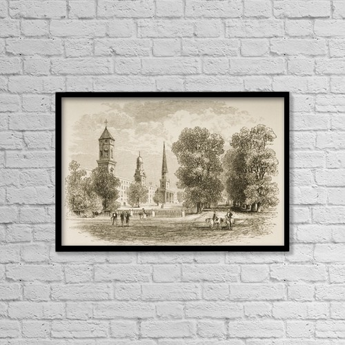 "Printscapes Wall Art: 18"" x 12"" Canvas Print With Black Frame - Yale College, New Haven Connecticut In 1870S by Ken Welsh"