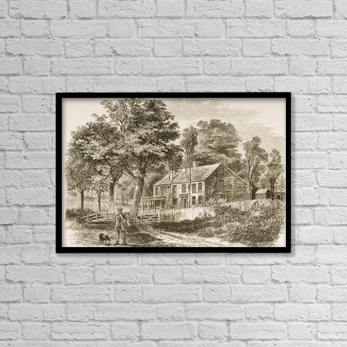 """Printscapes Wall Art: 18"""" x 12"""" Canvas Print With Black Frame - Pepperell Near Boston Massachusetts In 1870S by Ken Welsh"""