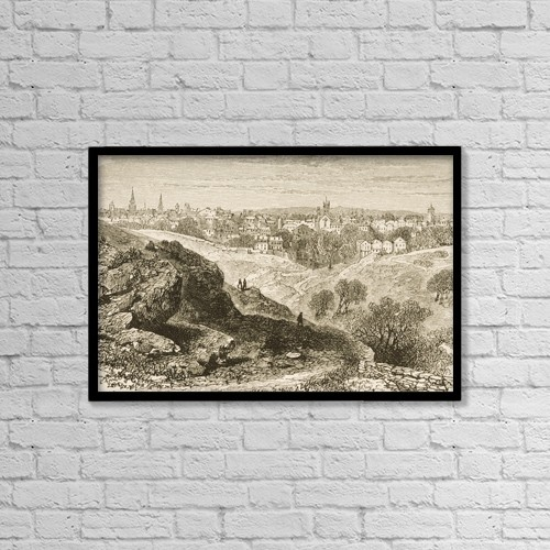 "Printscapes Wall Art: 18"" x 12"" Canvas Print With Black Frame - Overall View Of Salem Massachusetts In 1870S by Ken Welsh"
