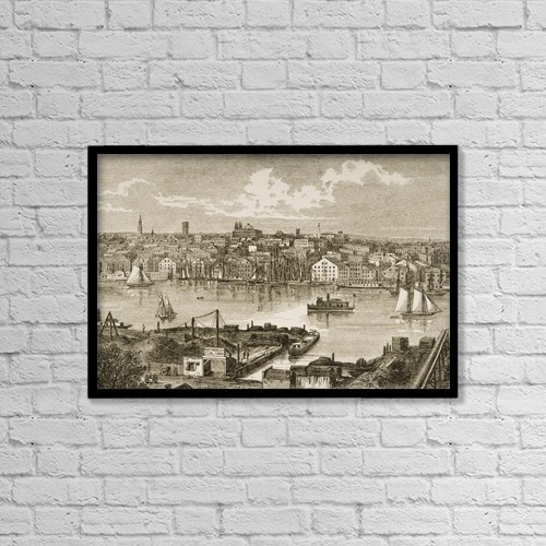 "Printscapes Wall Art: 18"" x 12"" Canvas Print With Black Frame - Baltimore Maryland In 1870S by Ken Welsh"