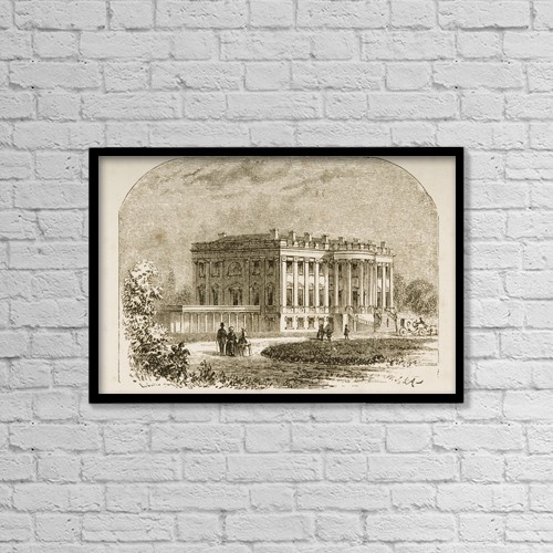 "Printscapes Wall Art: 18"" x 12"" Canvas Print With Black Frame - The White House Washington Dc In 1870S by Ken Welsh"