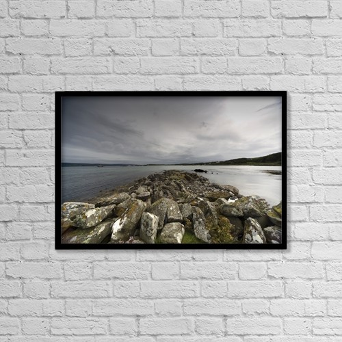 "Printscapes Wall Art: 18"" x 12"" Canvas Print With Black Frame - Rocky Beach by John Short"