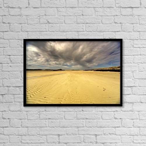 "Printscapes Wall Art: 18"" x 12"" Canvas Print With Black Frame - Sandy Beach, Scotland by John Short"