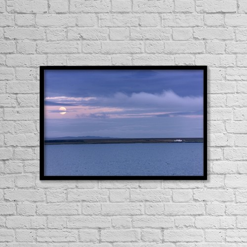 "Printscapes Wall Art: 18"" x 12"" Canvas Print With Black Frame - Water And Dark Clouds by John Short"
